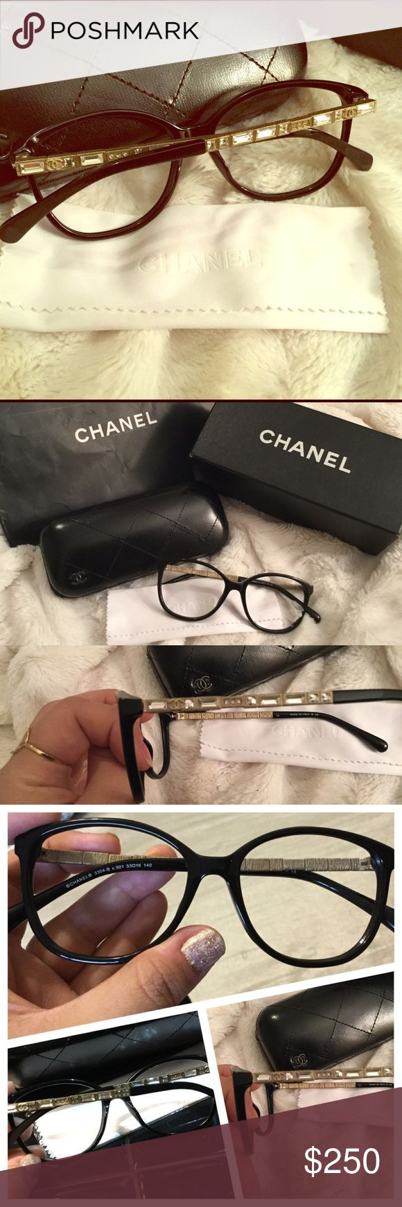 Beautiful Chanel glasses NWB NEVER WORN Chanel optical glasses. Nothing says you are classy and have style like a pair of Chanel optical sand These are gorgeous!!! I just have one too many glasses and a Chanel pair I already use every day. They have rhinestones on the legs and sparkle with the light. Truly a fabulous chic pair comes with case and dust cloth CHANEL Accessories Sunglasses