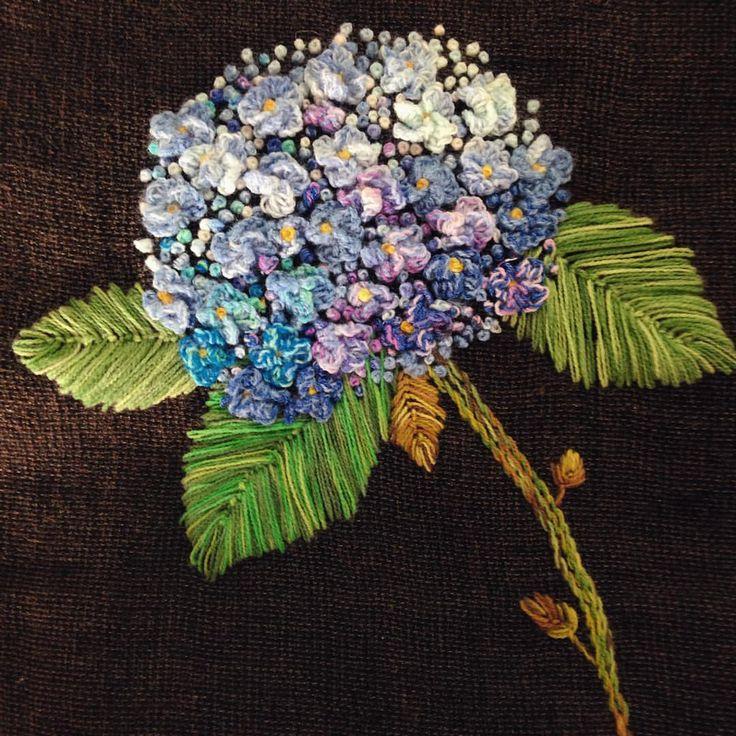 #수국#자수#프랑스자수#embroidery#needlework#handmade