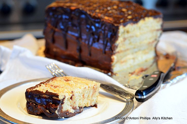 'Four-Layer Boston Cream Cake'    Let's get ready to rummmmmmble!     www.allyskitchen.com