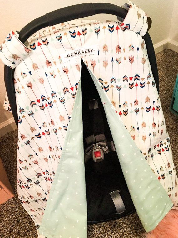 Infant Car Seat Canopy Arrows Print Mint by NONNAKAYHandmade