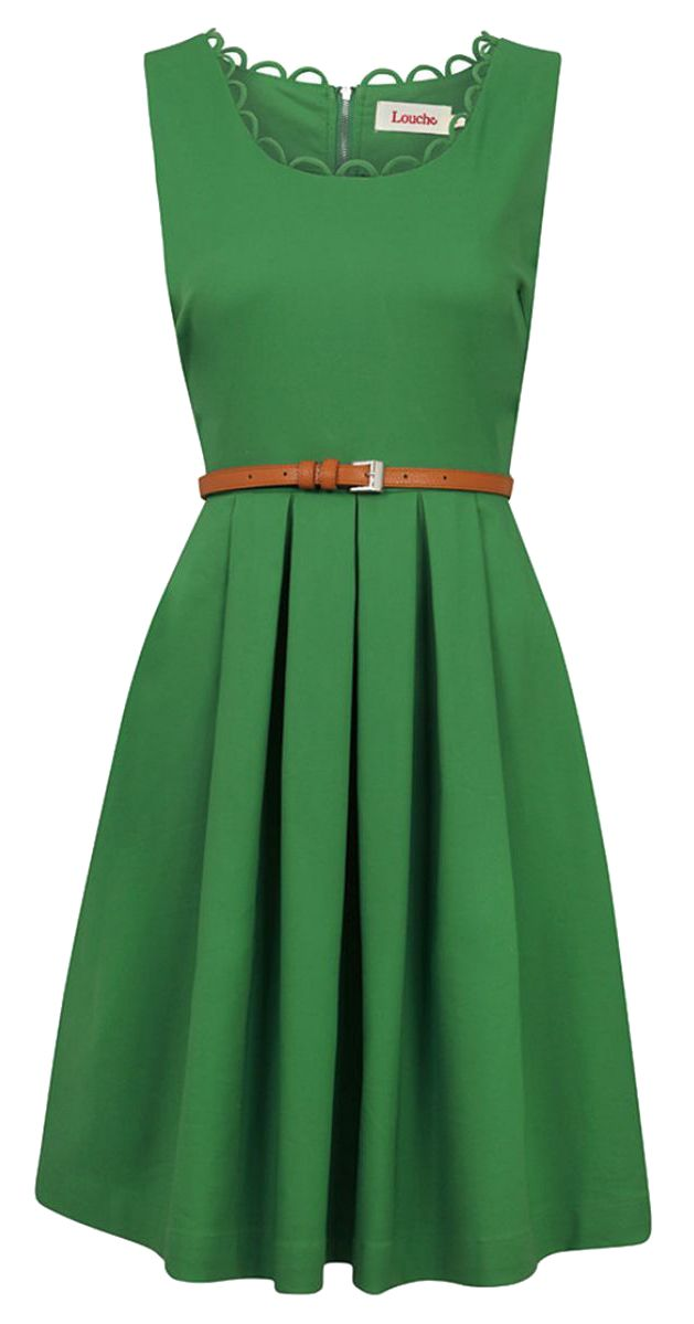 Love the Kelly green and neckline with detail. Great fit and flare. Would be perfect with pockets and if knee length. Belted Skater Dress
