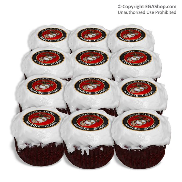 MARINE CORP PARTY IDEA IMAGES | Cake Topper: Cupcake Marine Corps Seal (set of 12)