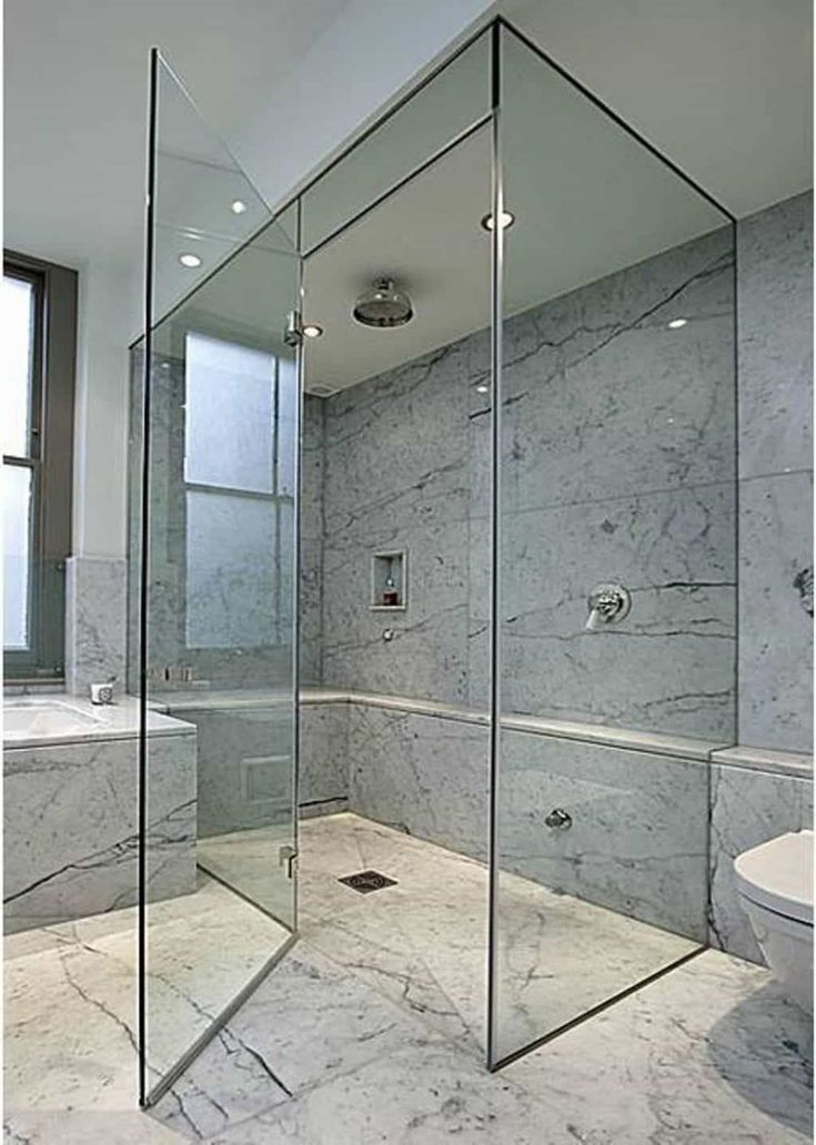 Contemporary Bathroom With Rainfall Shower Head And Glass Shower