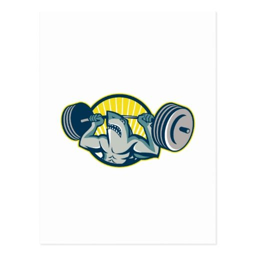 Shark Weightlifter Lifting Barbell Mascot Postcard. 2016 Rio Summer Olympics postcard showing an illustration of a shark weightlifter lifting a barbell viewed from front set inside a circle done in retro style. #weightlifting #olympics #sports #summergames #rio2016 #olympics2016