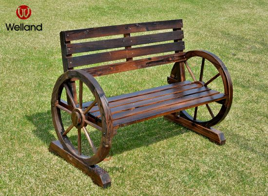 Approx. Bench 2 Seater Wooden Traditionally Constructed Wagon Wheel W114 x D58 x H76cm