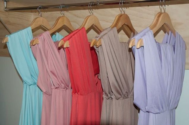 Zeredah Gowns in store for your to try and tie. Nora and Elle Bridesmaids.