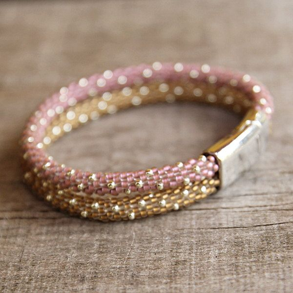 Bead crochet rope bracelet  gold pink  seed beads by Naryajewelry, $35.00