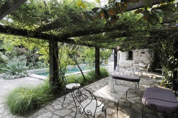 south of France - pergola with pool view