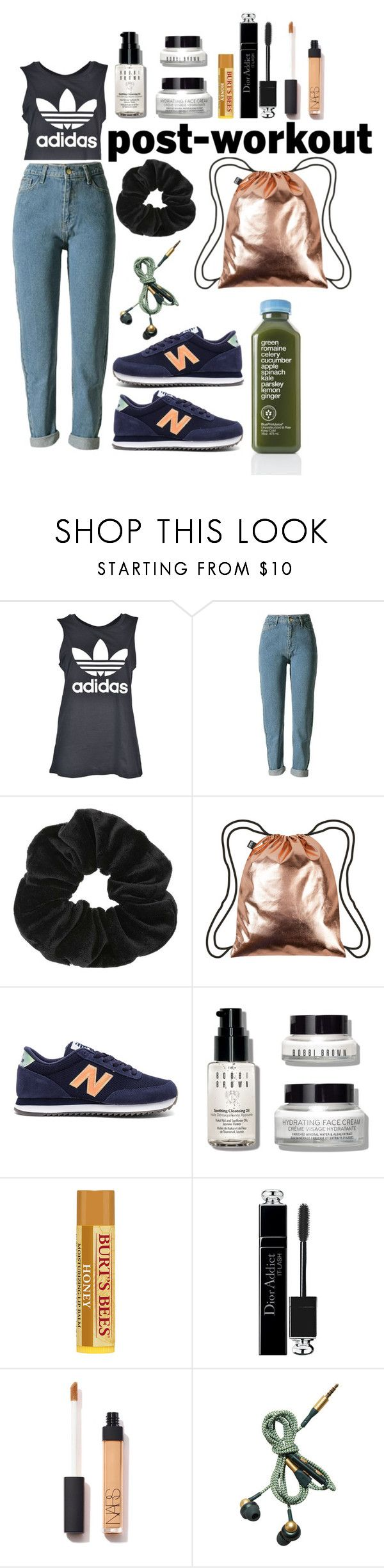 """oh look my green smoothie!"" by nover on Polyvore featuring beauty, adidas, Miss Selfridge, LOQI, New Balance, Bobbi Brown Cosmetics, Christian Dior and Kreafunk"