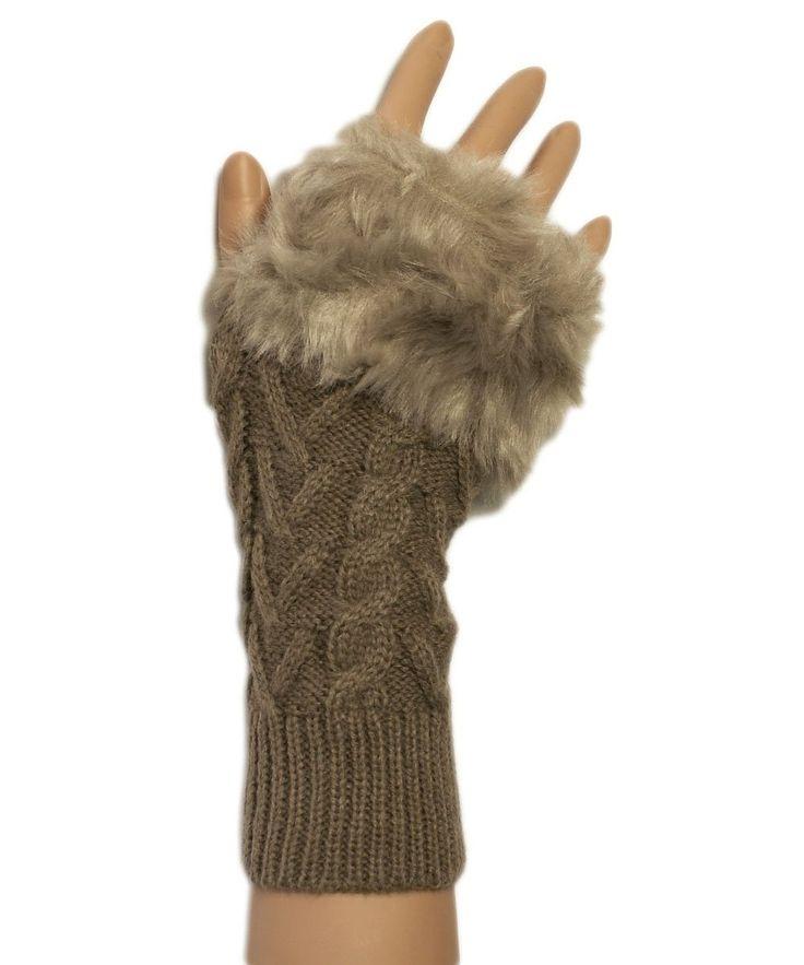 Mesdames garnis de fourrure torsades mitaine / gant main chaude (Taupe): Amazon.fr: Vêtements et accessoires