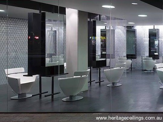 Here the pressed tin panels were used in the Cranium hair salon in Sydney.
