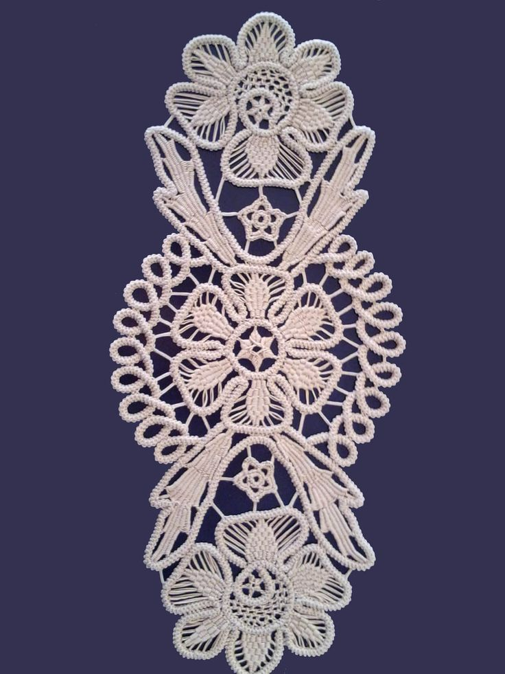 romanian point lace | Doily Romanian Point Lace Crochet Doily ECRU (Beige) Floral Pattern 13 ...