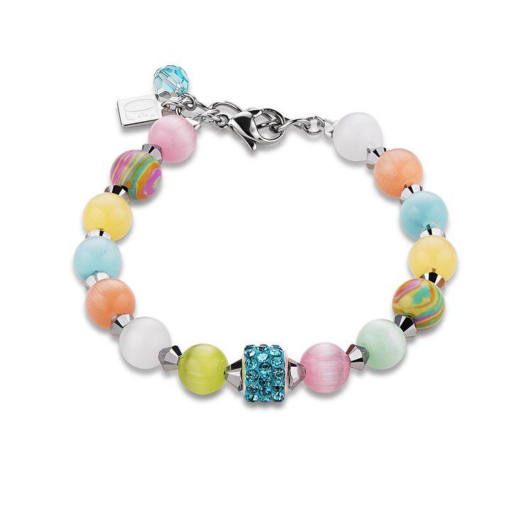 Armband Swarovski® Kristalle & Achat & Strass multicolor pastell | COEUR DE LION