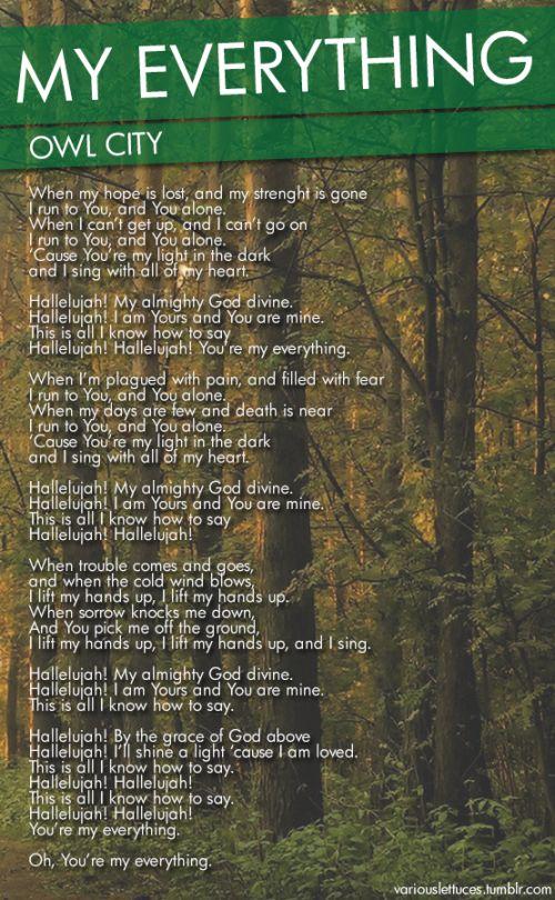 owl city - my everything lyrics