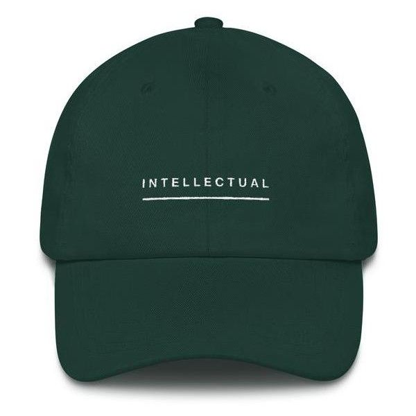 """ Intellectual' Dad hat ($25) ❤ liked on Polyvore featuring accessories, hats, antique hats, sun visor, sun visor hat, visor hats and buckle hats"