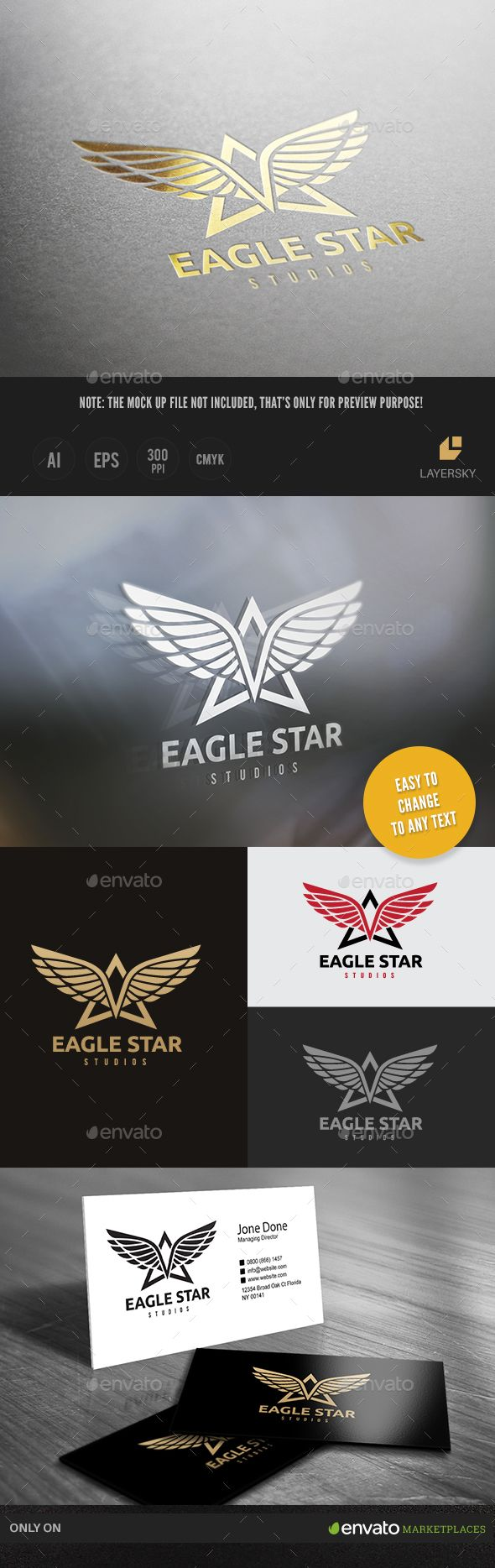 Eagle Star Logo Template Vector EPS, AI. Download here: http://graphicriver.net/item/eagle-star-logo/15022075?ref=ksioks