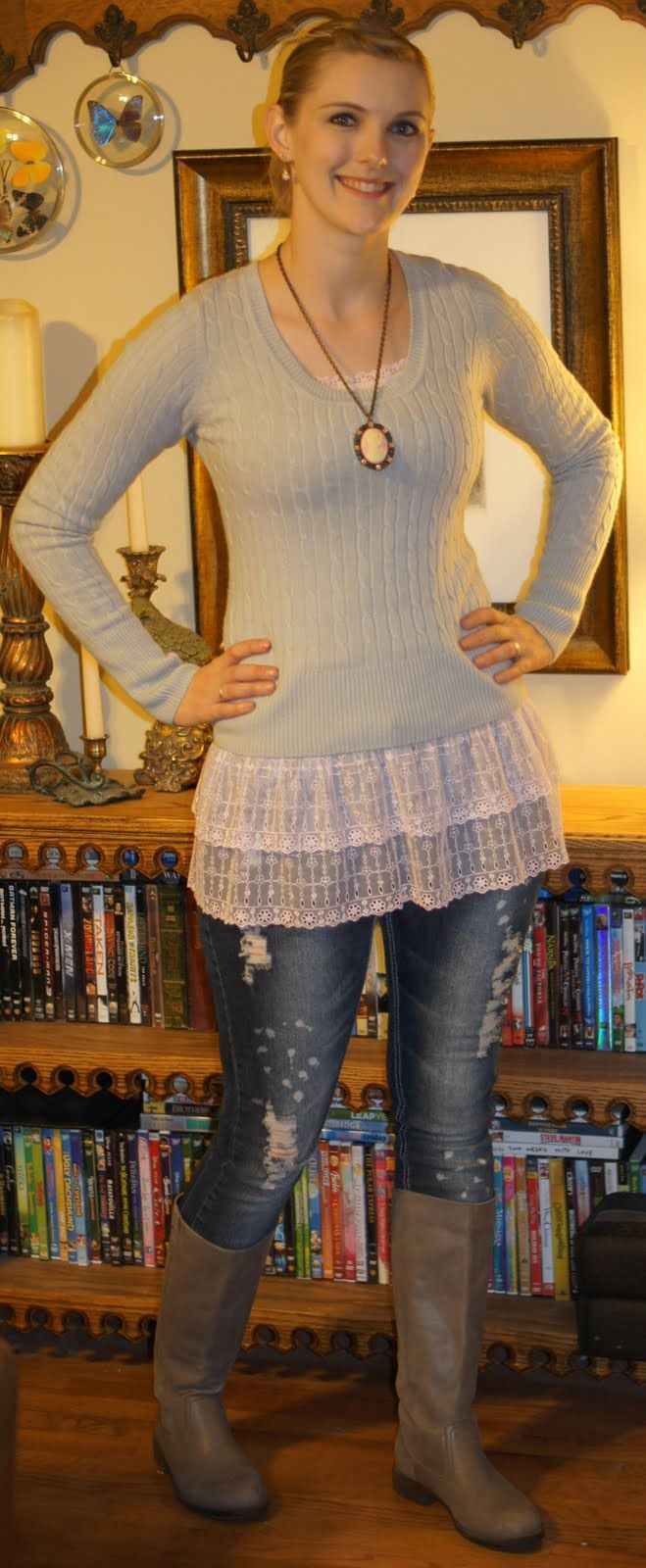 Ode to Anthropologie- adding a ruffle to existing tank top. Adorable under a sweater!