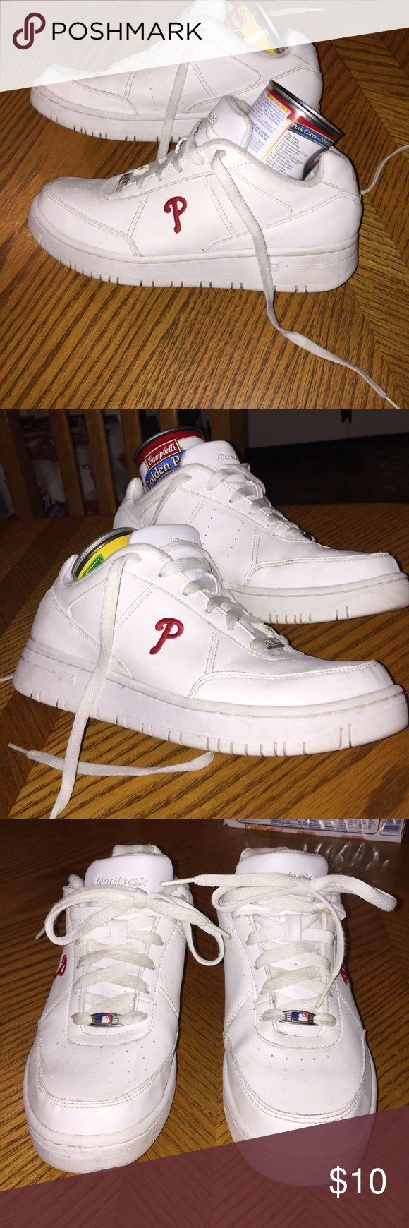 "Reebok ""Phillies""  tennis sneakers Reebok white ""Phillies"" sneakers in very good condition and very clean size 6 ladies. This is a very good deal for $10. reebok Shoes Sneakers"