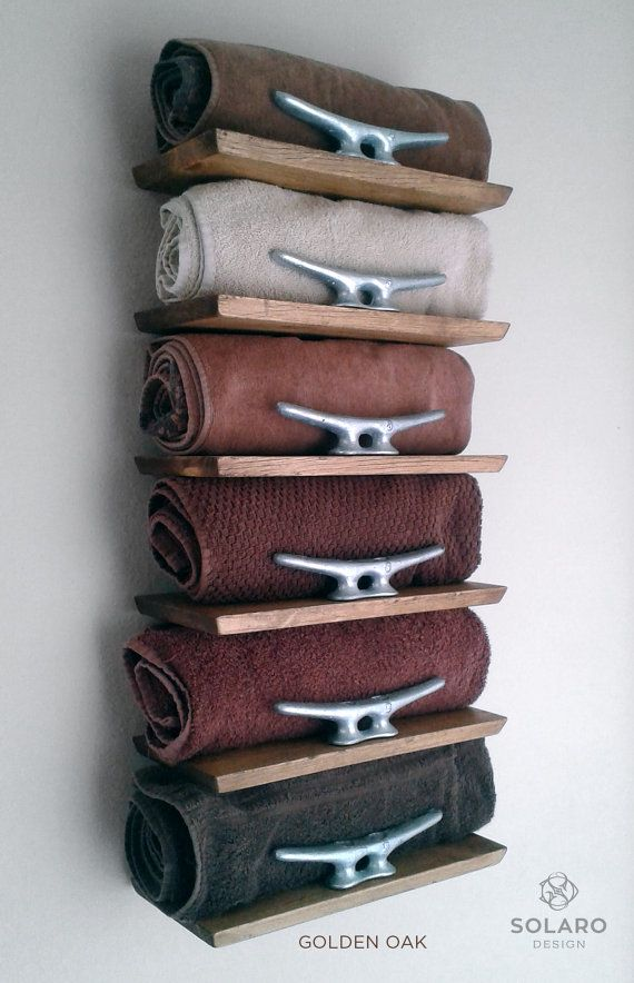 Rustic Nautical Towel Rack 6 Shelves by SolaroDesign on Etsy