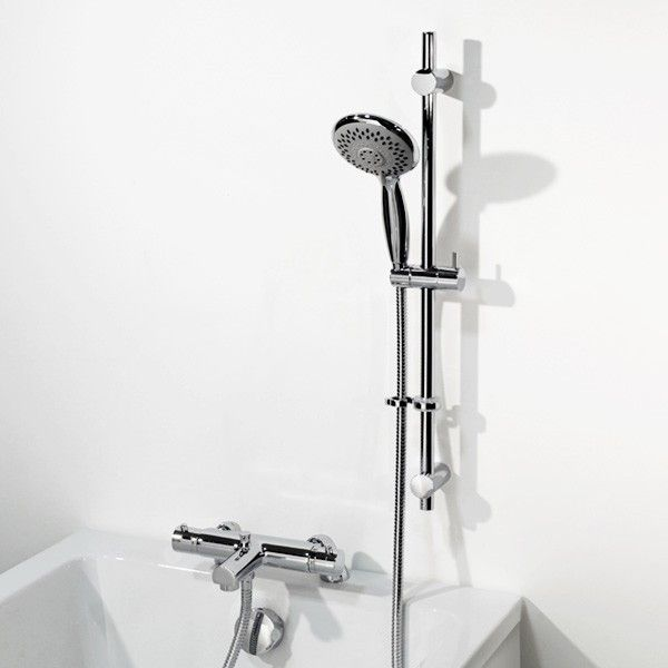 Orla Thermostatic Deck Mounted Bath Shower Mixer with Atmos Slide Rail Kit, priced at £240.95. This thermostatic bath shower mixer is manufactured from the highest quality materials and boasts seperate water flow and temperature controls and has a built in anti scald device set at 38.C. Order now at - http://www.taps.co.uk/orla-thermostatic-deck-mounted-bath-shower-mixer-with-atmos-slide-rail-kit.html