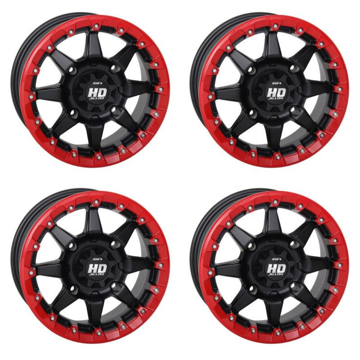 4 ATV/UTV Wheels Set 14in STI HD5 Beadlock Red 4/156 5+2 550