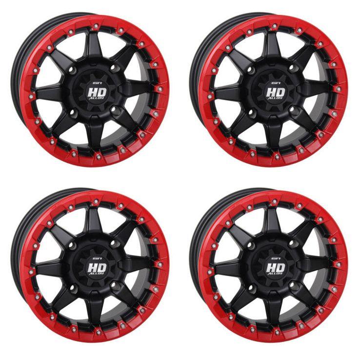 4 ATV/UTV Wheels Set 14in STI HD5 Beadlock Red 4/156 5+2 550