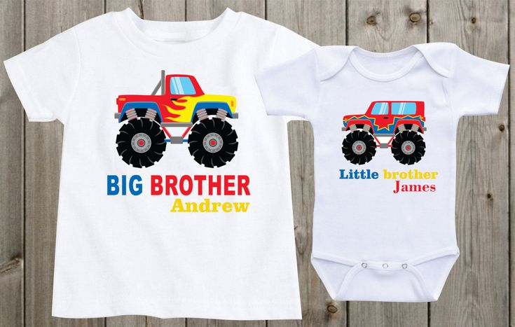 Monster trucks Big brother little brother shirts Sibling Shirts Custom Shirts Toddler Shirts Baby Shower Gifts Baby boy outfit boys outfits by…
