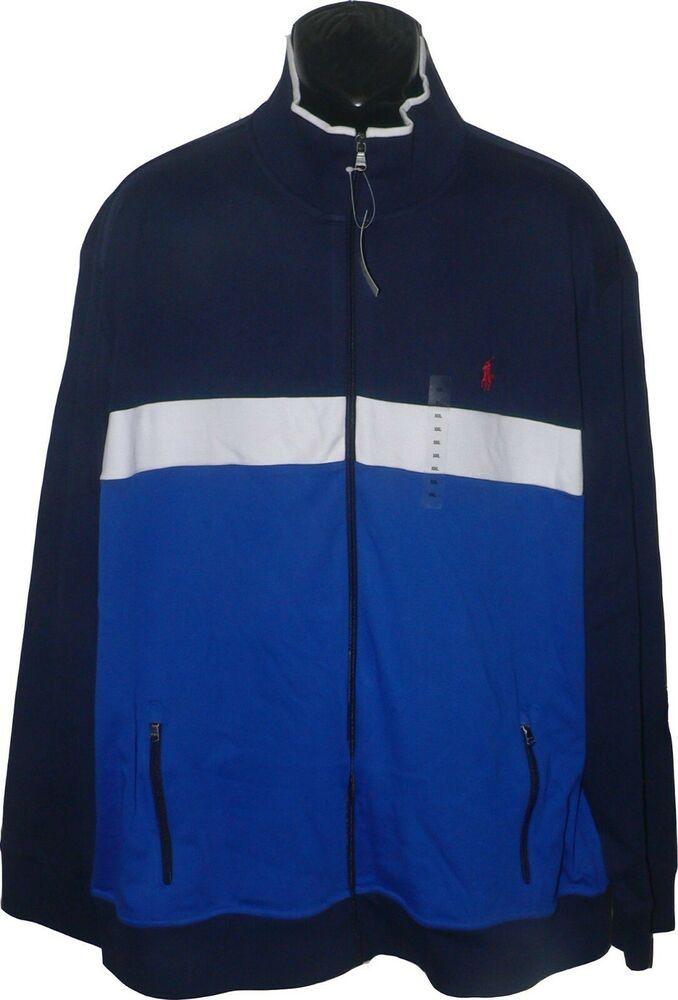 New XXL 2XL POLO RALPH LAUREN Mens full zip fleece hoodie jacket blue sweatshirt