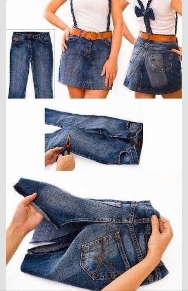 DIY Recycle Old Jeans To A Skirt