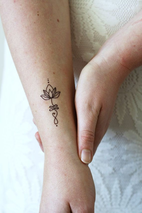 Unalome lotus tatouage set van twee / Boheemse door Tattoorary