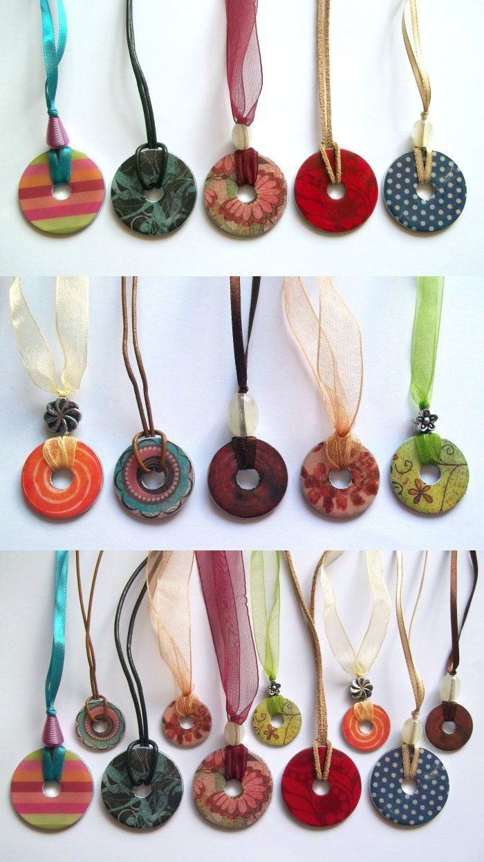Things to make and do - Washer Necklace... Love what they used instead of a 'chain'...great options!