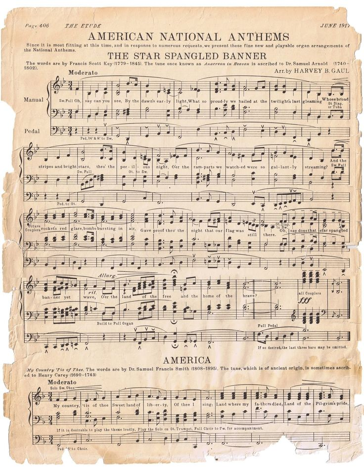 """The Star Spangled Banner"" and ""America"" sheet music, published June, 1917."