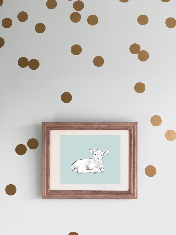 Modern Nursery Animal Artwork - Lamb -  Gender Neutral Baby Wall Decor by CubsandKids on Etsy