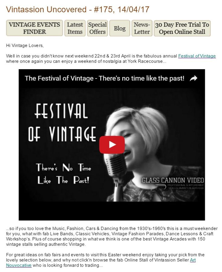 Vintassion Uncovered - #175, 14/04/17 - Hi Vintage Lovers,   Well in case you didn't know next weekend 22nd & 23rd April is the fabulous annual Festival of Vintage where once again you can enjoy a weekend of nostalgia at York Racecourse... ...so if you too love the Music, Fashion, Cars & Dancing from the 1930's-1960's this is a must weekender for you, what with fab Live Bands, Classic Vehicles, Vintage Fashion Parades, Dance Lessons & Craft Workshop's. Plus of course shopping in what we…