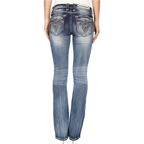 Rock Revival Jayla B206 Boot (Medium Blue) Women's Jeans ($111) ❤ liked on Polyvore featuring jeans, blue, faded blue jeans, boot-cut jeans, blue jeans, leather jeans and slim boot cut jeans