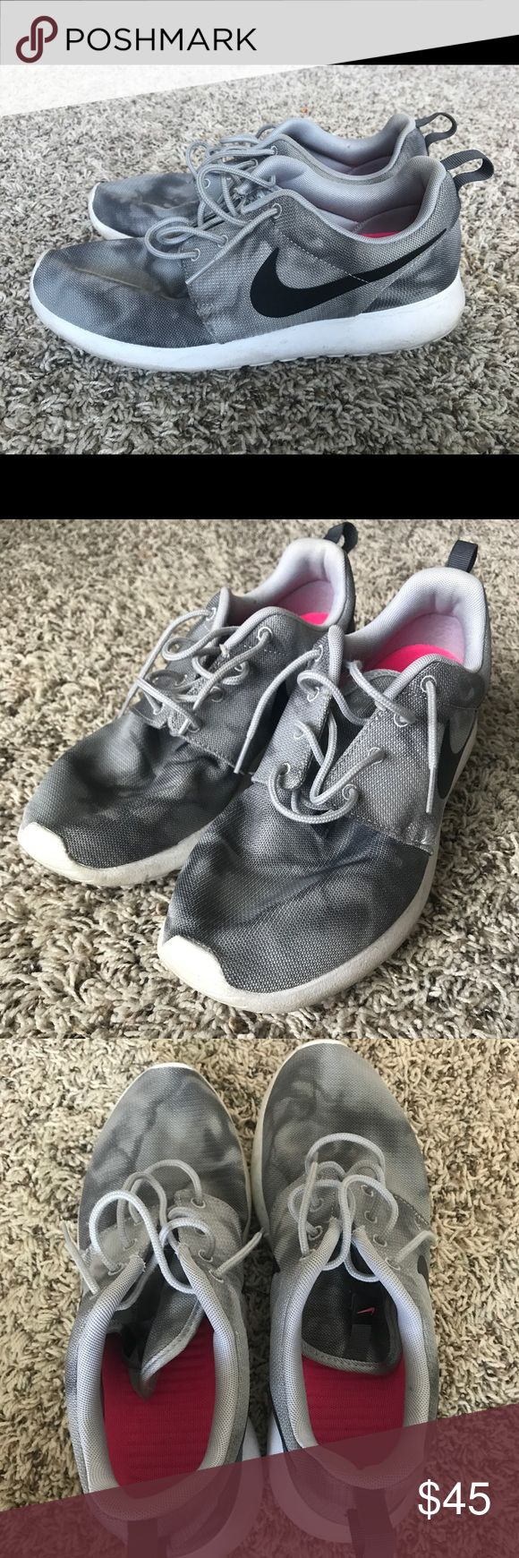 """Nike Roshe Run Grey Camo $45 or best offer. I barely wore these. I've had them in my closet for about 3 years just collecting dust. They aren't """"brand new"""" but they're gently worn and in pretty good shape, in my opinion. I can definitely clean these up for the buyer before shipping them out. Nike Shoes Athletic Shoes"""