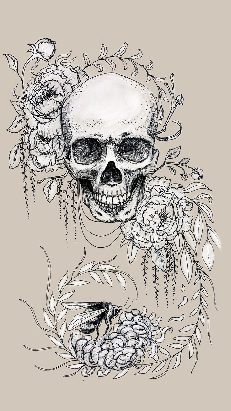 Skull Flowers Tattoo