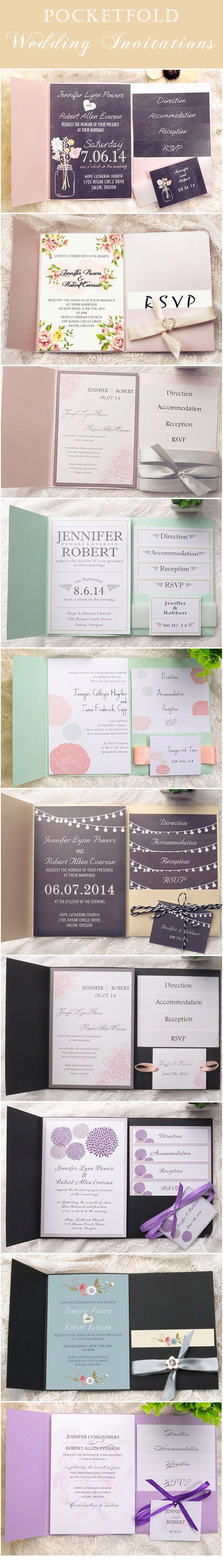 elegant pocket wedding invitations with free response