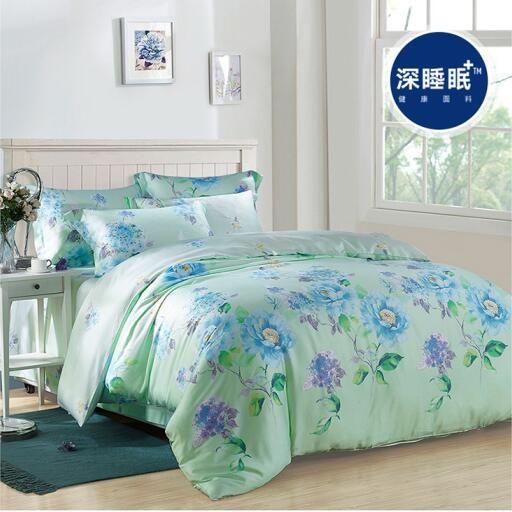 5 metre 6 metre 6.6 metre yatak kaliteli % 100% doğal ipek Bahar yaz yeşil mavi çiçek 4 adet yatak örtüsü çarşaflar çarşaf seti/3557(China (Mainland))