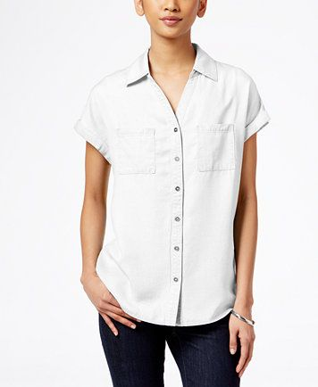 Style & Co Short-Sleeve Denim Shirt, Only at Macy's | macys.com