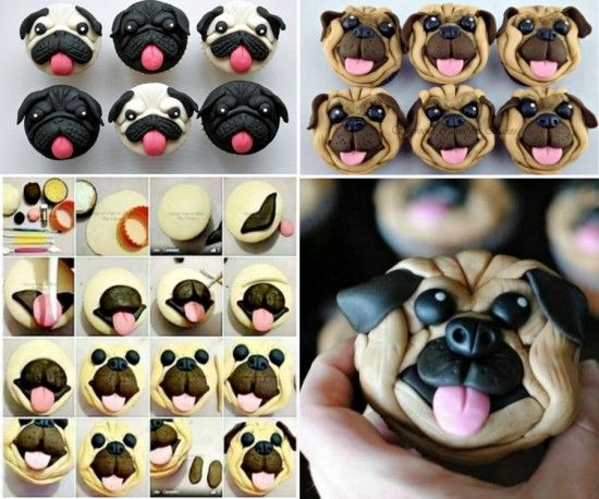 You will love to make these cute Pug cakes. #diy #food #pug cake