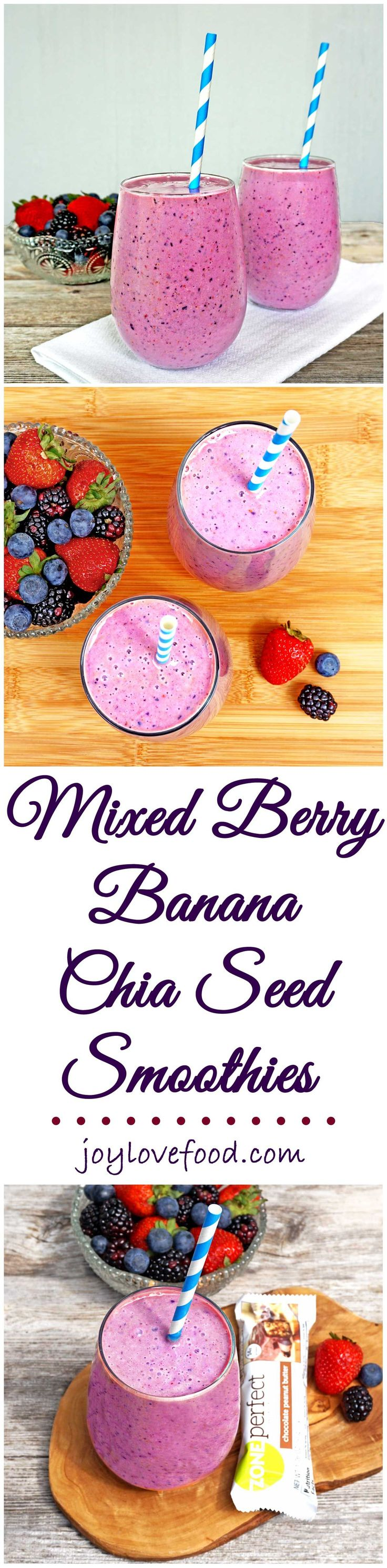 Mixed Berry Banana Chia Seed Smoothies - one of these bright and creamy smoothies along with a ZonePerfect® Nutrition Bar, is perfect for a healthy, delicious and energizing snack. #SnackandRally #ad