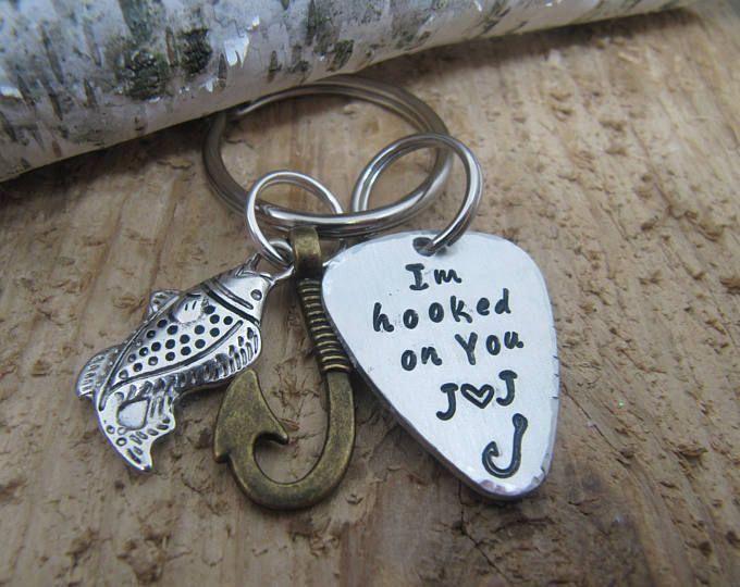 boyfriend gift, Hooked on you key chain, fishing key chain,Anniversary gift,gift for husband,I love you gift, hand stamped key chain, custom