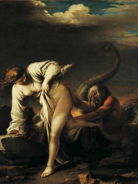 Scylla was a water nymph who rejected Glaucus due to his monsterous half human body.  art by Salvator Rosa