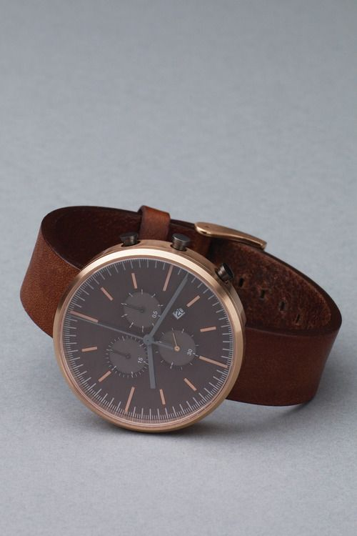 Leather and rose gold watch