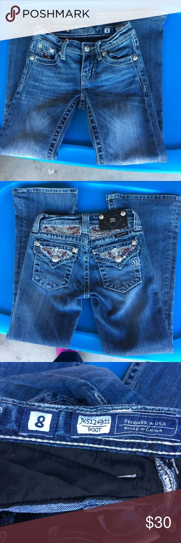 Little girls Miss Me jeans Little girls Miss Me jeans in excellent condition. They have purple and clearish jewels all on the back and one front pocket. Miss Me Bottoms Jeans