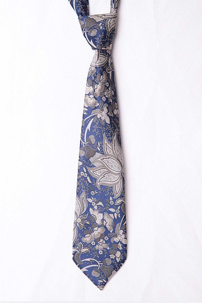 Vintage Littlewoods Blue Paisley / Floral Patterned Mens Tie - Made in UK