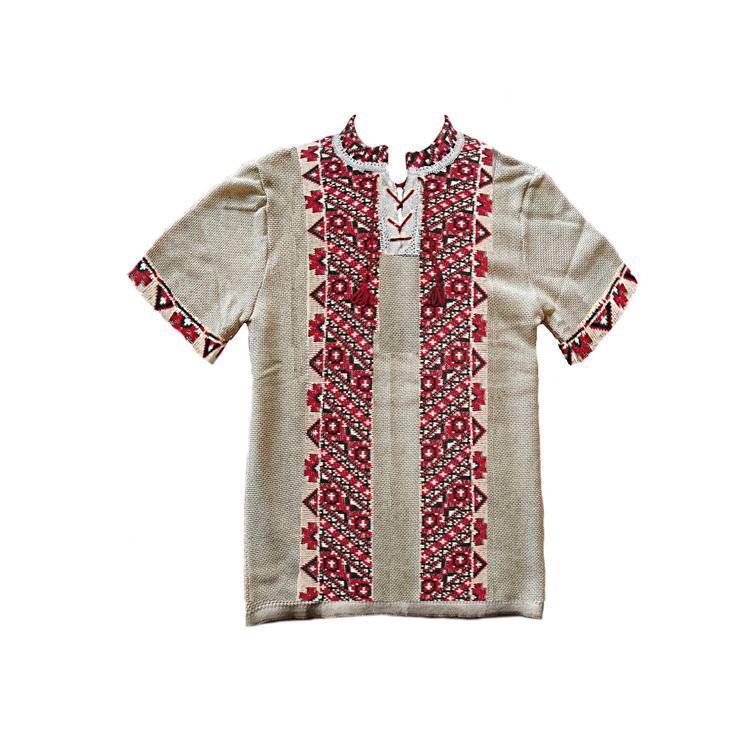 Ivory shirt mens shirt linen embroidery short sleeves
