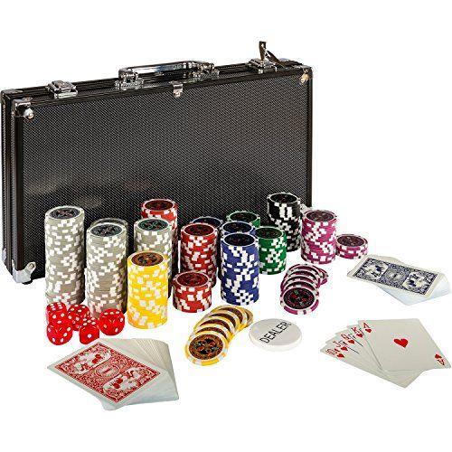 Maletín de póker Black Edition – 300 fichas iridiscentes con núcleo metálico de 12 gramos y alta calidad – Naipes de 100% plástico –