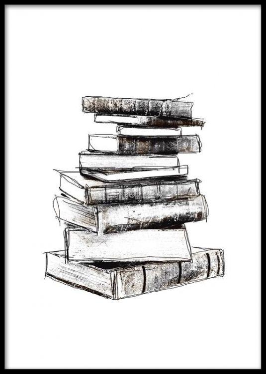 Affisch med böcker, boktrave. Snygg vintage poster / print. Matchas fint med andra svartvita posters och affischer med vintage.